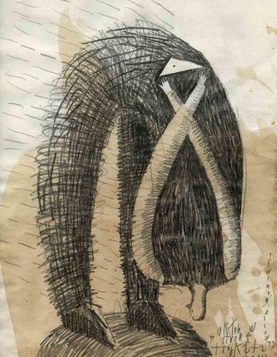 2000 Eugeniusz Józefowski, Ukłon w stronę trójkąta, 30 x 21 cm, rysunek ołówkiem na papierze