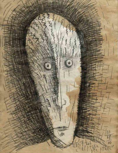 2001 Eugeniusz Józefowski, Głowa zdeptana z deptaka bez ptaka, 30 x 21 cm, rysunek ołówkiem na papierze