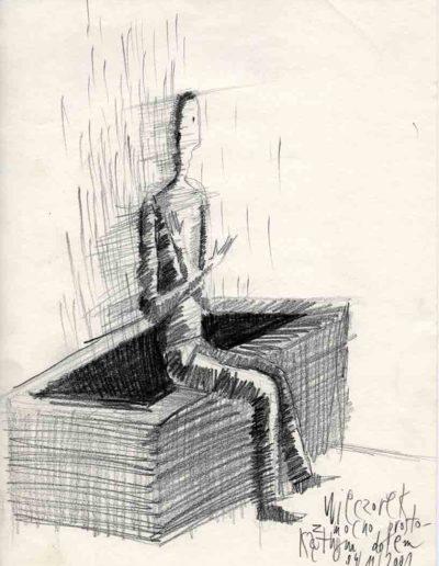 2001 Eugeniusz Józefowski, Wieczór z mocno prostokątnym dołem, 30 x 21 cm, rysunek ołówkiem na papierze