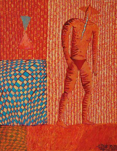 2002 2009 Eugeniusz Józefowski, Niedościgniony bohater plaży, Akryl i olej na płótnie forrmat 40 x 50 cm