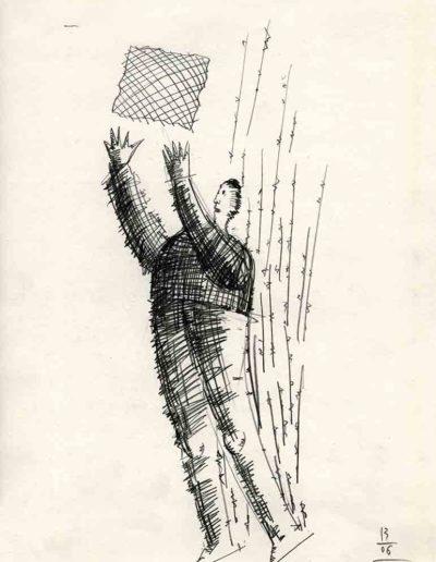 2002 Eugeniusz Józefowski, Entuzjasta kwadratowej kartki, 30 x 21 cm, rysunek ołówkiem na papierze