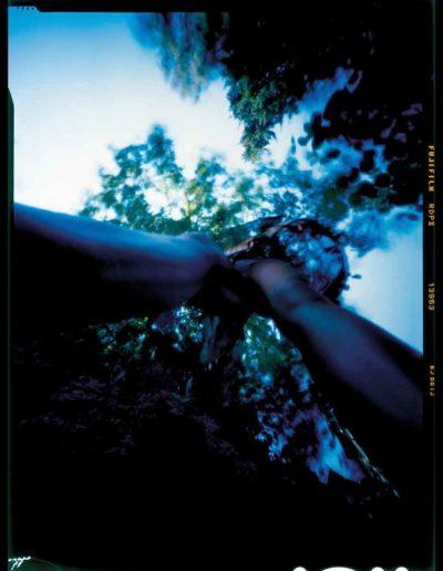 2003 Eugeniusz Józefowski, Dziewczyna i drzewo, pinhol, negatyw 4 x 5 cala