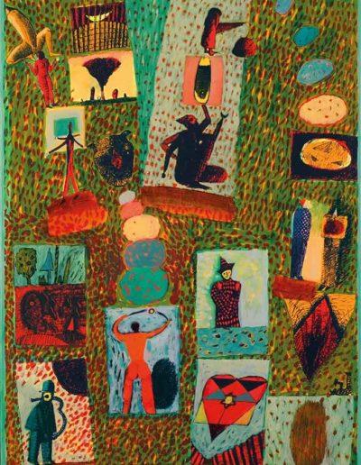 2004 Eugeniusz Józefowski, Momenty lekko erotyczne, technika mieszana na płótnie, 50 x 80 cm