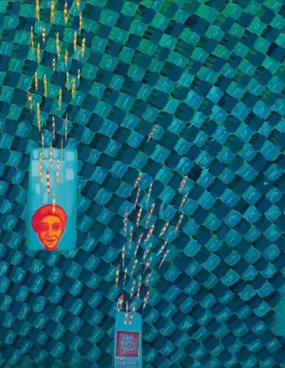 2005 Eugeniusz Józefowski, Litery rozsypane bez słów, olej na płótnie, 67 x 67 cm