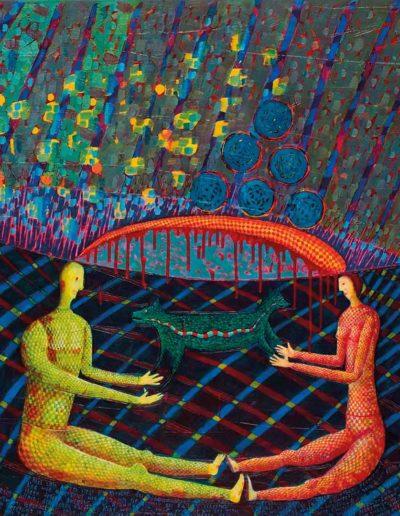 2005 Ich spotkanie ze stworzenoiem widzącym Przestwór,100 x 120 cm, olej na płótnie