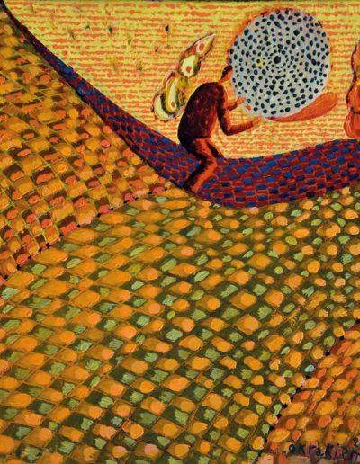 2009 Eugeniusz Józefowski, Okrakiem na lzie, olej na płótnie, 25 x 25 cm