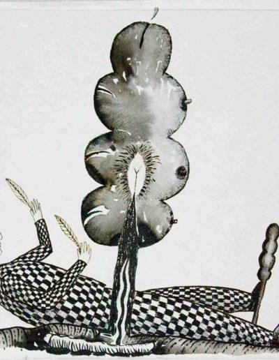 2010 Eugeniusz Józefowski, Drzewko na życzenie czyli kolene wypełnianie testu,rysunek tuszem lawowanym na papierze czerpanym, 42 x 29,5 cm