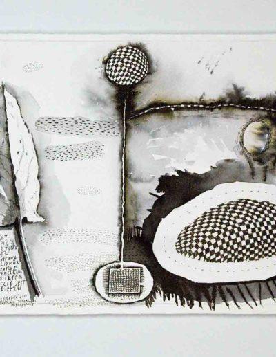 2010 Eugeniusz Józefowski, Listek szczawiu z łąki,rysunek tuszem lawowanym na papierze czerpanym, 42 x 29,5 cm