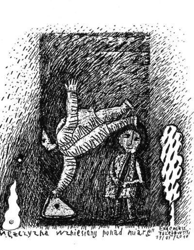 2010 Eugeniusz Józefowski, Mężczyzna wzniesiony ponad miarę, rysunek na grafice, 9 x 5,3 cm