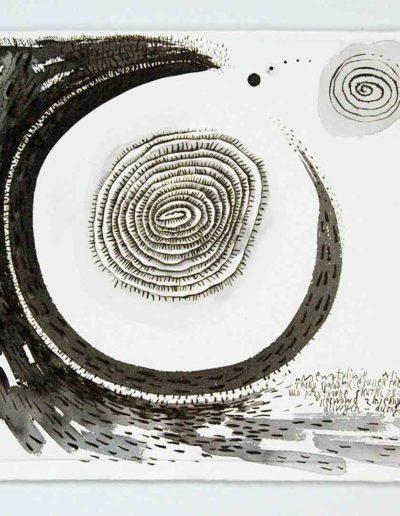 2010 Eugeniusz Józefowski, Niewątplowie wszystko sie kręci w różnorodny sposób,rysunek tuszem lawowanym na papierze czerpanym, 42 x 29,5 cm