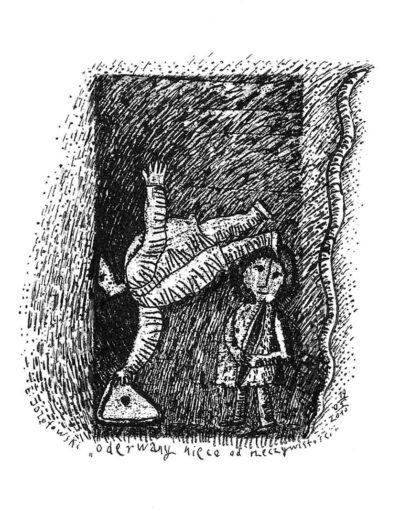 2010 Eugeniusz Józefowski, Oderwany nieco od rzeczywistości, rysunek na grafice, 9 x 5,3 cm
