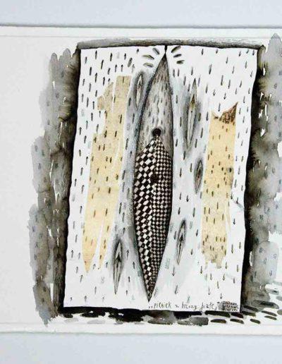 2010 Eugeniusz Józefowski, Pieniek z brzozy białej,rysunek tuszem lawowanym na papierze czerpanym, 29,5 x 42 cm