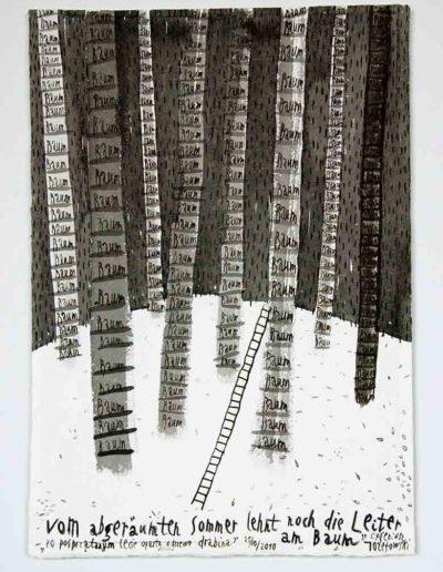 2010 Eugeniusz Józefowski, Po posprzątanym lecie oparta jeszcze o drzewo drabina',rysunek tuszem lawowanym na papierze czerpanym, 29,5 x 42 cm