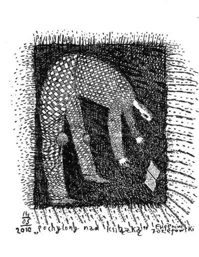 2010 Eugeniusz Józefowski, Pochylony nad książką, rysunek na grafice, 6,8 x 5,8 cm
