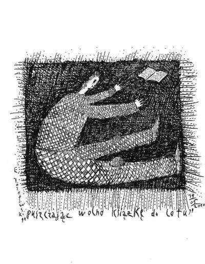 2010 Eugeniusz Józefowski, Puszczając książkę wolno do lotu, rysunek na grafice, 5,8 x 6,8 cm, rysunek tuszem na grafice
