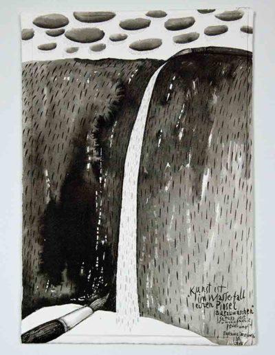 2010 Eugeniusz Józefowski, Sztuką jest w wodospadzie pędzel umyć,rysunek tuszem lawowanym na papierze czerpanym, 29,5 x 42 cm