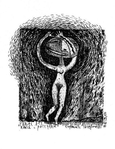 2010 Eugeniusz Józefowski, Taniec bez końca i początku, rysunek na grafice, 7,5 x 7 cm, wersja 2