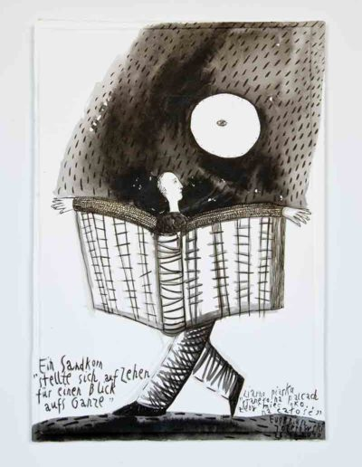2010 Eugeniusz Józefowski, Ziarnko piasku stanęło na palcach, żeby mieć oko na całość,rysunek tuszem lawowanym na papierze czerpanym, 29,5 x 42 cm