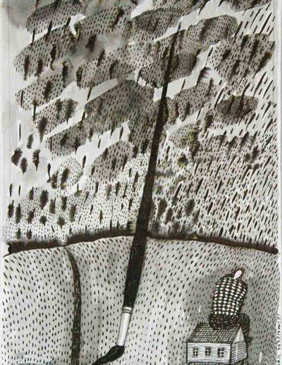 2011 Eugeniusz Józefowski, Brak rąk utrzyma pędzel,rysunek tuszem lawowanym na papierze czerpanym, 29,5 cm x 42 cm