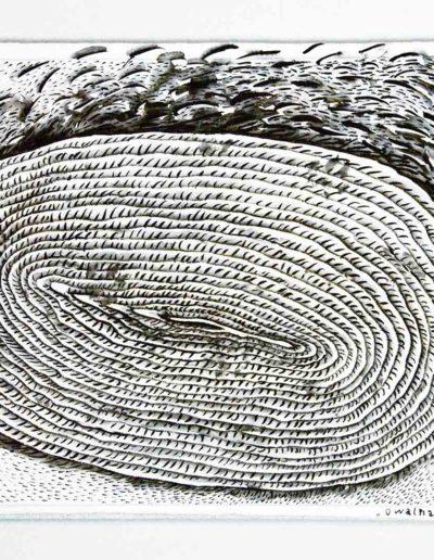 2011 Eugeniusz Józefowski, Owalna spirala, rysunek tuszem lawowanym na papierze czerpanym, 42 x 29,5 cm