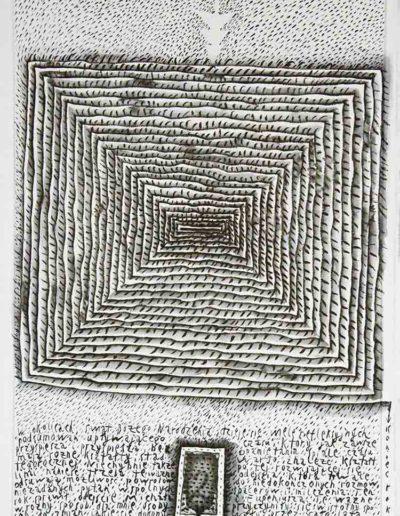 2011 Eugeniusz Józefowski, Prawie kwadrtatowa spirala, rysunek tuszem lawowanym na papierze czerpanym, 42 x 29,5 cm