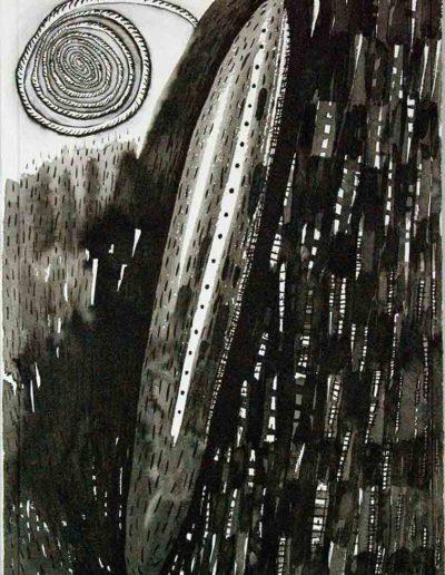 2011 Eugeniusz Józefowski, Tak ciemno bywa czasem, rysunek tuszem lawowanym na papierze czerpanym, 42 x 29,5 cm