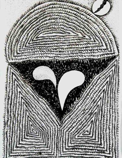 2011 Eugeniusz Józefowski, To ten 23 grudzień 2011 rku- dzień refleksji, rysunek tuszem lawowanym na papierze czerpanym, 29,5 x 42 cm
