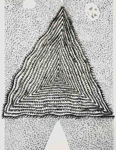 2011 Eugeniusz Józefowski, Trójkątna spirala czasu, rysunek tuszem lawowanym na papierze czerpanym, 29,5 x 42 cm