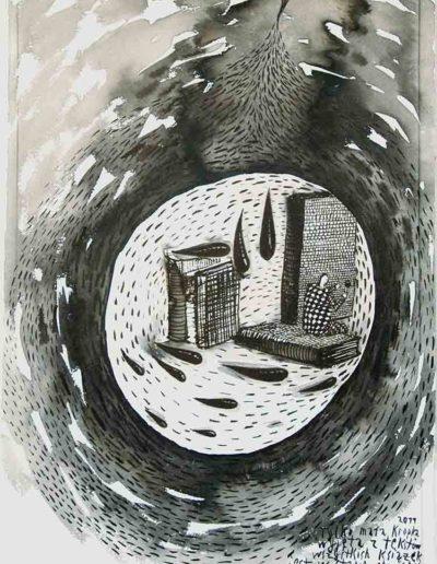 2011 Eugeniusz Józefowski, Tylko mała kropla,rysunek tuszem lawowanym na papierze czerpanym, 29,5 x 42 cm