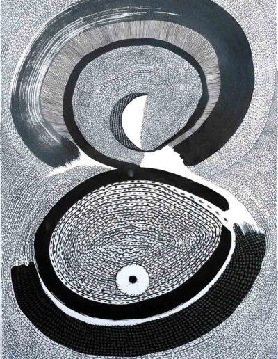 2012 Eugeniusz Józefowski, Dwie przestrzenie rysunek tuszem, 100 x 70 cm