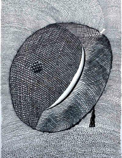 2012 Eugeniusz Józefowski, Kamień z księżycem rysumek tuszem, 100 x 70 cm
