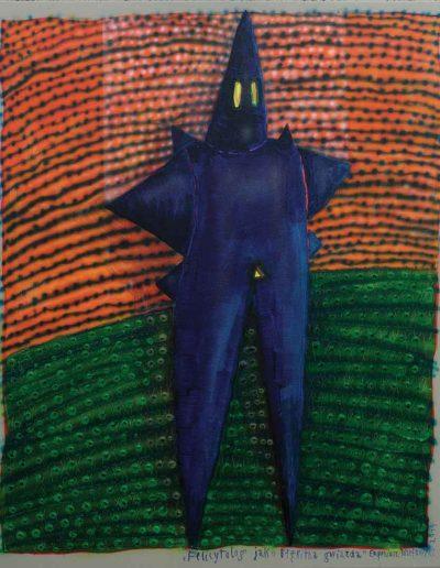 2014 Eugeniusz Józefowski , Felicytolog jako błękitna gwiazda akryl na płótnie, 50 x 60 cm