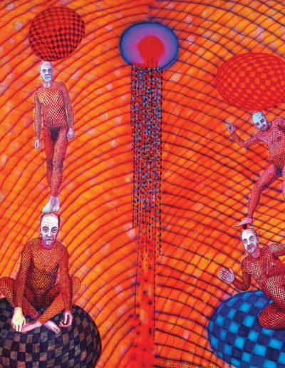 2014 Eugeniusz Józefowski , Medytacje na temat czterech jej w kratkę i jednego z którego nic się nie wykluło olej i akryl na płótnie, 200 x 170 cm