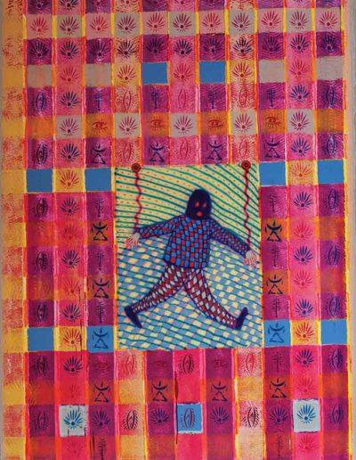 2014 Eugeniusz Józefowski, Podwieszony na peczłorkowej tapecie nieco marionetkowo, akryl i olej na płótnie, 160 x 100 cm