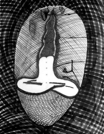 2014 Eugeniusz Józefowski, Tatuaż na brahmandzie,rysunek tuszem na papierze, 70 x 100 cm