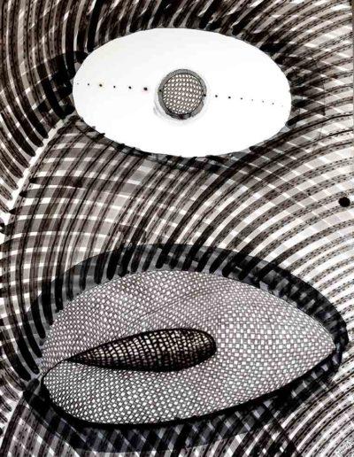 2014 Eugeniusz Józefowski, Two pits, Dwie pestki, rysunek tuszem na papierze akwarelowym