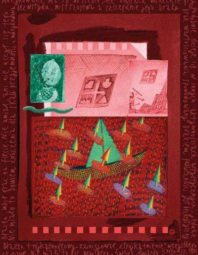 2015_1999_1987_29 Szkicownik paryski Błazen trójkątnogłowy i flety, 6 x 8 cm