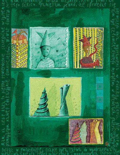 2015_1999_1987_39 Szkicownik paryski Postać w gwiażdzistej czapce i inne, 6 x 8 cm