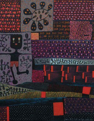 2017 Eugeniusz Józefowski, Dwa kieliszki w tym jeden dla Pawła Pawlaka, akryl na płótnie 115 x 100 cm