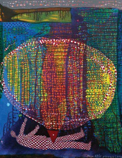 2017 Eugeniusz Józefowski, Jajo, które przewraca i przygniata, akryl i olej na płótnie 115 x 100 cm