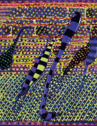 2017 Eugeniusz Józefowski, Rośliny paranoicznych wizji pod pretekstem hipertekstu, 20 x 20 cm, akryl na płótnie