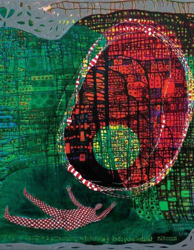 2017 Eugeniusz Józefowski, Starajmy się zgodnie z przemianą właściwiej żyć- powiedział nikomu, akryl i olej na płótnie 115 x 100 cm