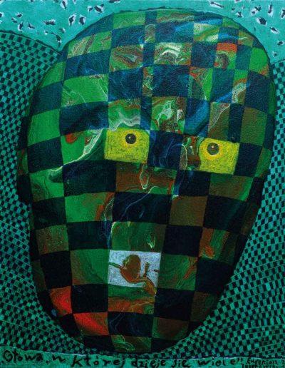 2018 Eugeniusz Józefowski, Głowa ,w której dzieje się wiele, akryl i olej na płótnie , 40 x 50 cm
