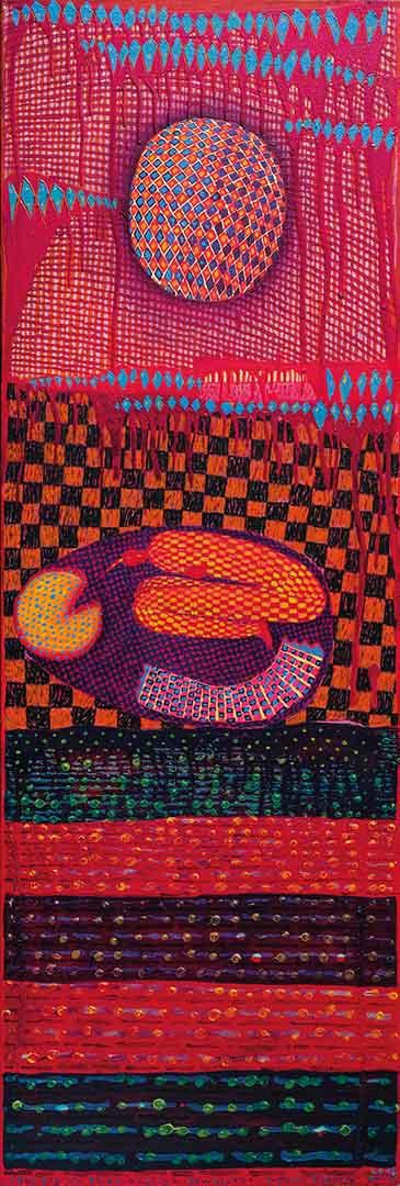2018 Eugeniusz Józefowski, Skulony na emocjonalnym dywaniku, olej na płótnie, 30 x 120 cm