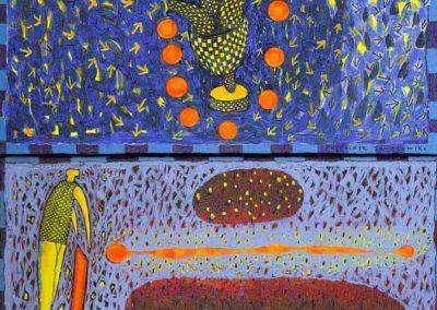 2019 Eugeniusz Józefowski, z cyklu PZNiK - Zestaw 07, akryl na płótnie, format 50 cm x 96 cm