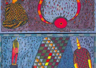 2019 Eugeniusz Józefowski, z cyklu PZNiK - Zestaw 22, akryl na płótnie, format 96 cm x 50 cm