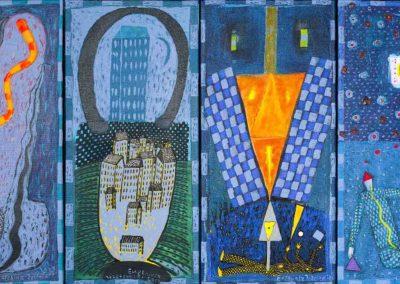 2019 Eugeniusz Józefowski, z cyklu PZNiK - Zestaw 27, akryl na płótnie, format 50 cm x 96 cm