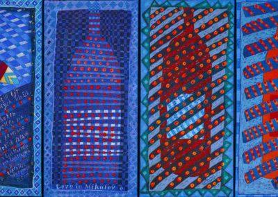 2019 Eugeniusz Józefowski, z cyklu PZNiK - Zestaw 40, akryl na płótnie, format 96 cm x 50 cm.